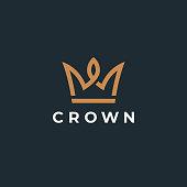istock Royal crown symbol. Geometric icon. Vector design template. 1253429912