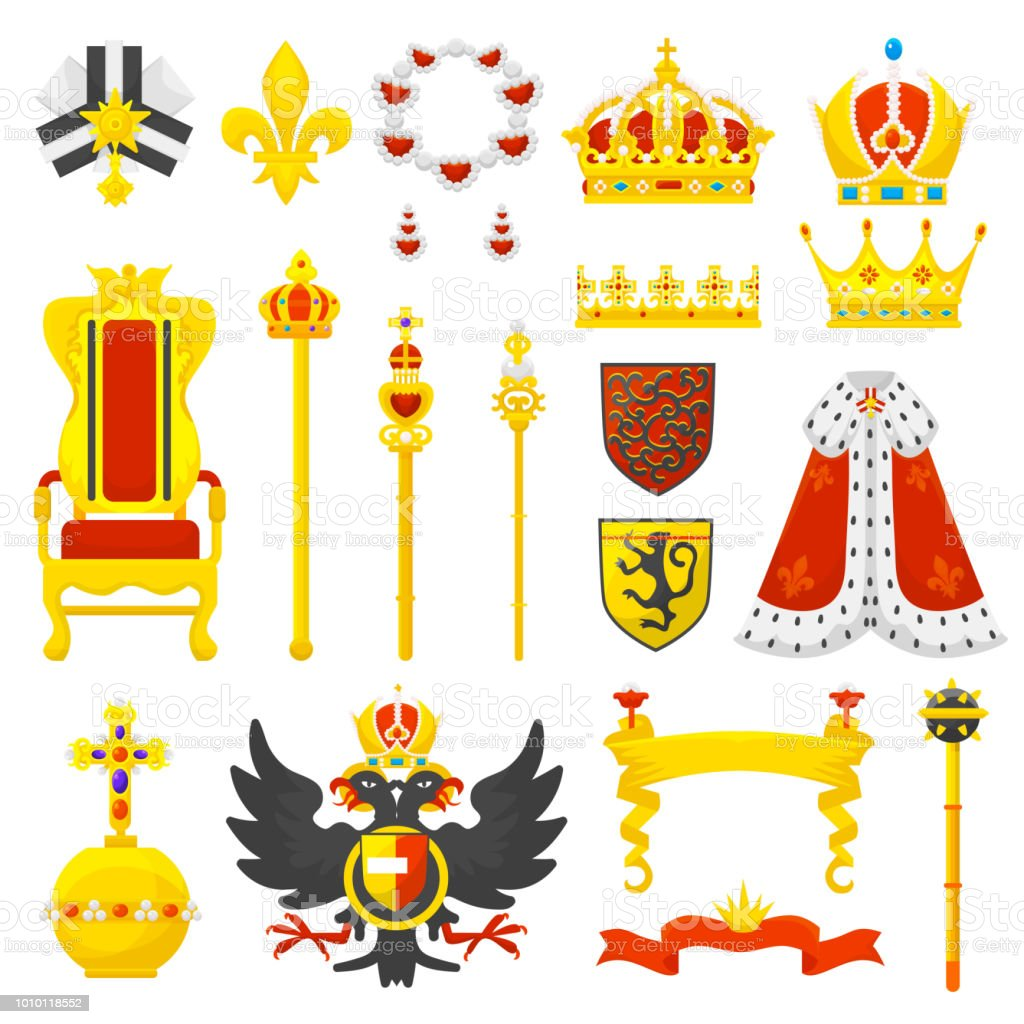 Royal Crown Vector Royalty Emblem And Golden Jewelry Symbol Of King