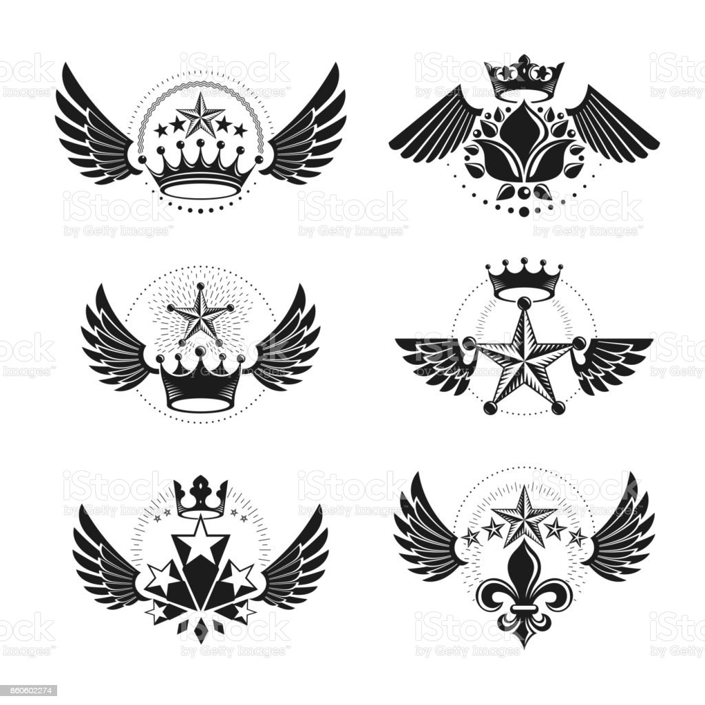Royal Crowns and Ancient Stars emblems set. Decorative Heraldic Coat of Arms isolated vector illustrations collection. vector art illustration