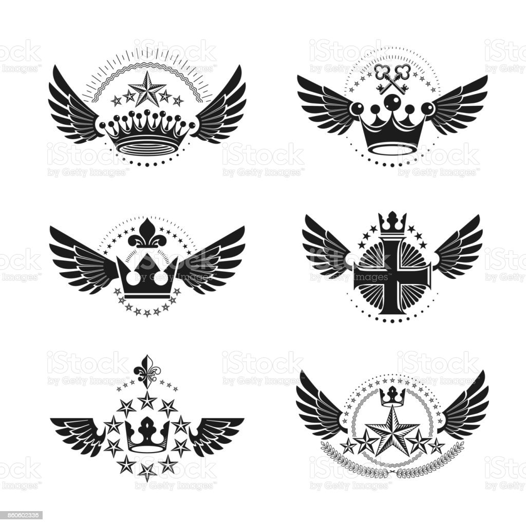 Royal Crowns and Ancient Stars emblems set. Heraldic Coat of Arms decorative logos isolated vector illustrations collection. vector art illustration
