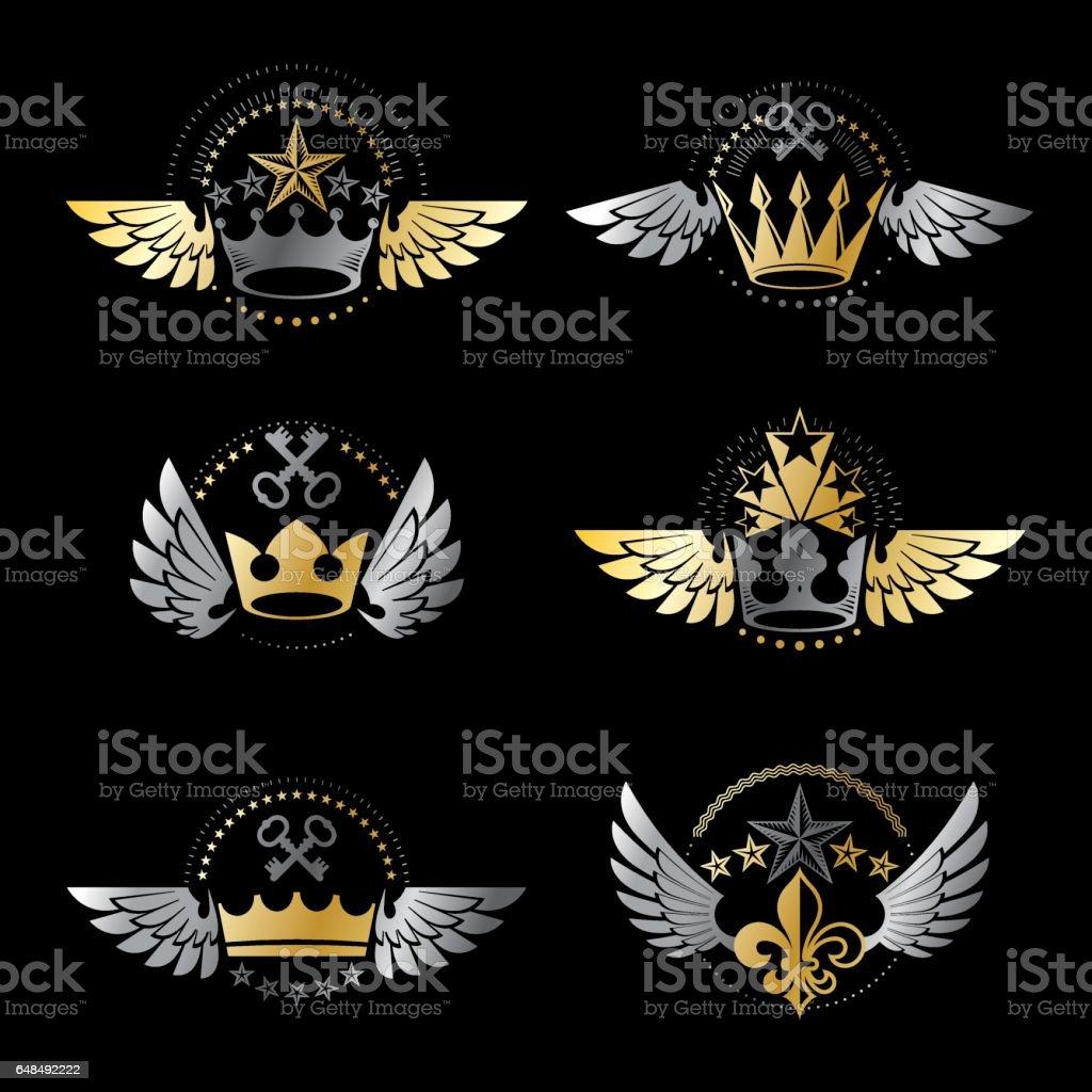 Royal Crowns And Vintage Stars Emblems Set Heraldic Vector Design
