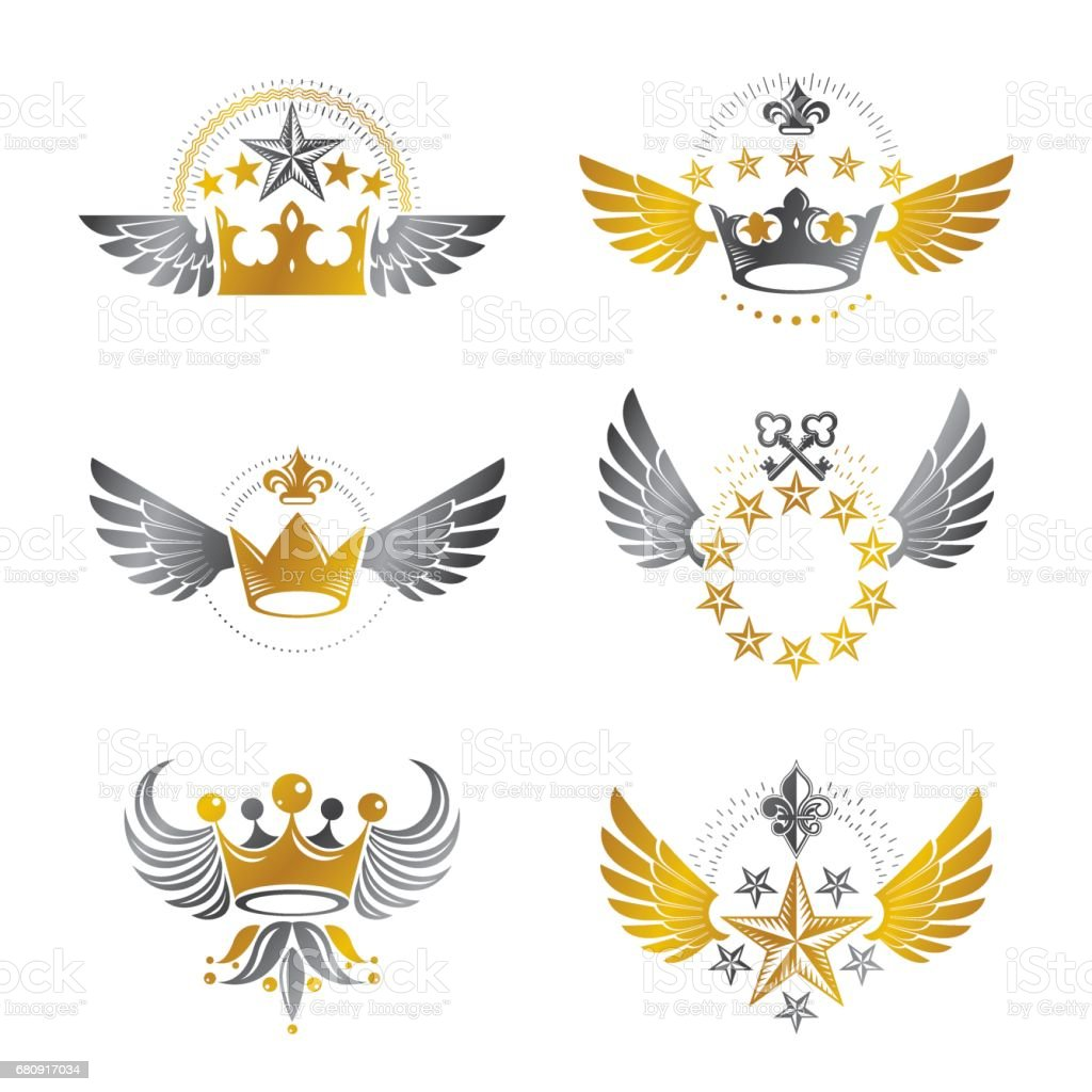Royal Crowns and Vintage Stars emblems set. Heraldic vector design elements collection. Retro style label, heraldry logo. royalty-free royal crowns and vintage stars emblems set heraldic vector design elements collection retro style label heraldry logo stock vector art & more images of armory