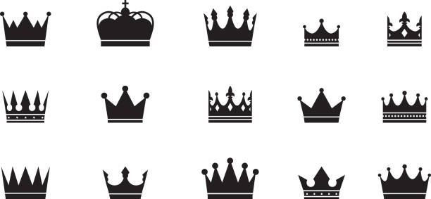 Royal crowns big collection. Quality Crown collection. Royal crowns big collection. Quality Crown collection. Vintage crown icons. Vector illustration corona sun stock illustrations