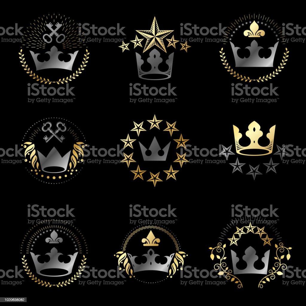 Conjunto de emblemas de coroas reais. Heráldica brasão decorativo assina coleção de ilustrações vetor isoladas. - ilustração de arte em vetor