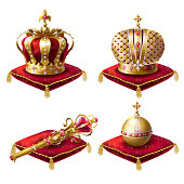 Royal crowns, scepter and orb realistic vector set