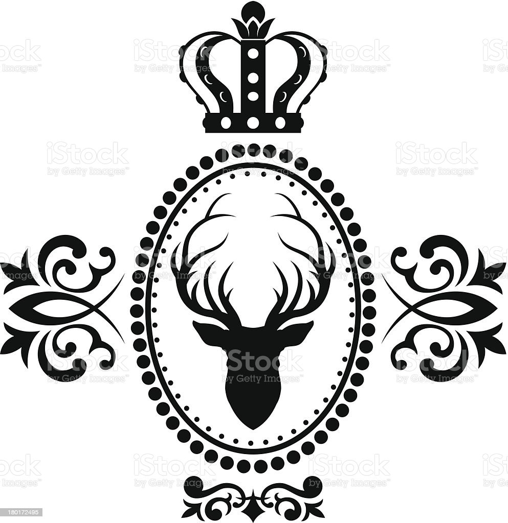 Royal deer emblem royalty-free stock vector art