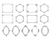 Royal elegant squared, round and oval frames set. Vector isolated victorian borders for wedding invitation.