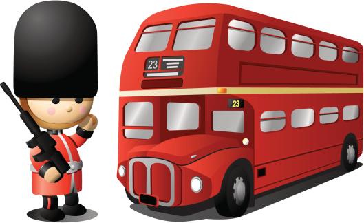 Royal English Guard and London Bus