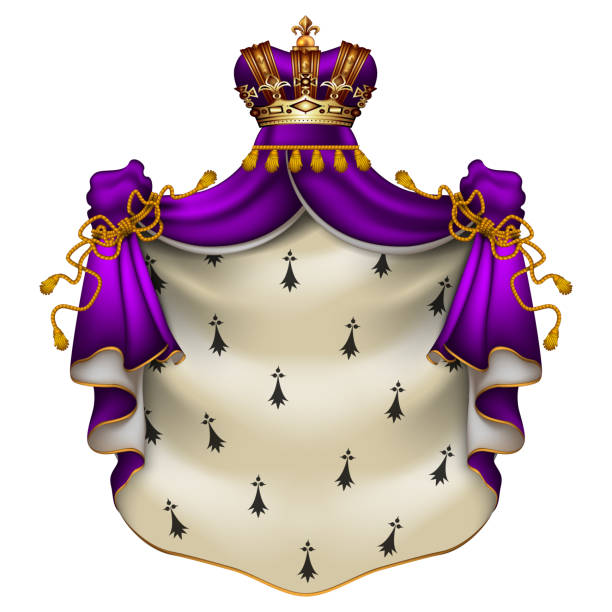 Royal ermine mantle. Heraldic illustration. Heraldic background with a violet ermine royal mantle with a crown. ermine stock illustrations