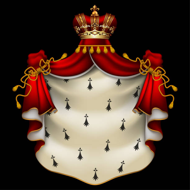 Royal ermine mantle Heraldic background with a red ermine royal mantle with a crown ermine stock illustrations