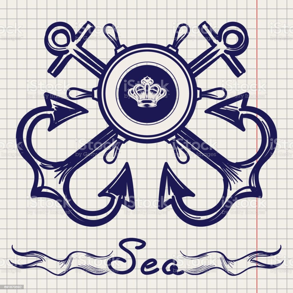 Royal fleet emblem on notebook page vector art illustration