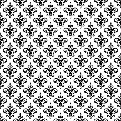 Royal fleur de lis seamless pattern - damask ornament vector.