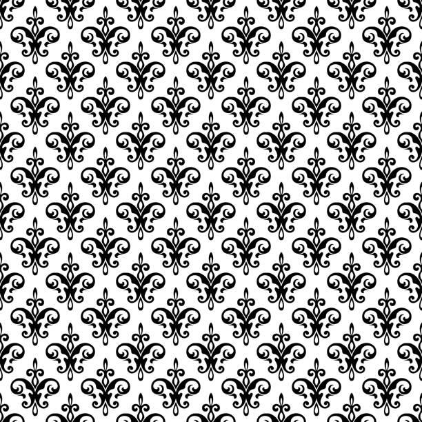 ilustraciones, imágenes clip art, dibujos animados e iconos de stock de royal fleur de lis patrón sin costuras - vector de ornamento damasco. - cultura francesa