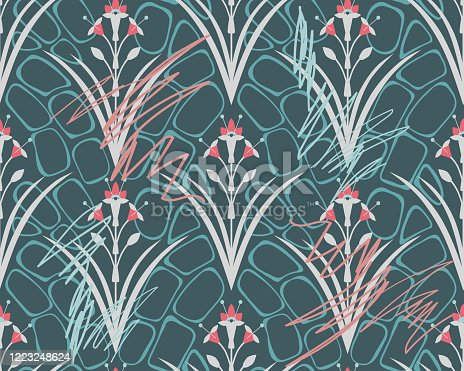 istock Royal Floral symmetrical seamless pattern. Classic wallpaper ornament. 1223248624