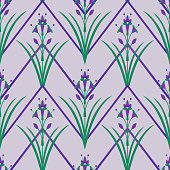 Floral symmetrical ornament. Flat abstract decorative flowers seamless pattern. Fashion design for interior wallpaper, fabric, textile, wrapping, surface, paper.