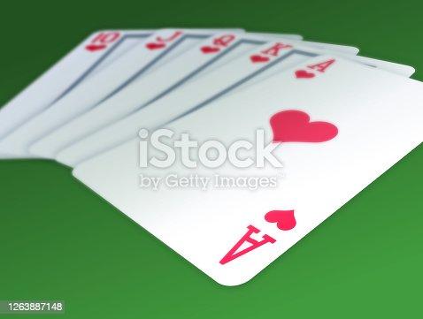 istock Royal Flush 3D Cards 1263887148