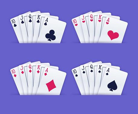 Royal Flush Gambling Playing Cards