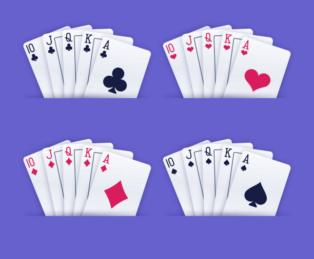 Royal Flush Gambling Playing Cards A person holding a royal flush poker gambling playing cards. poker stock illustrations