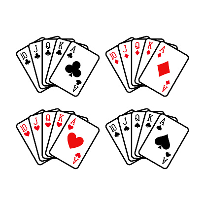 Royal flush hand of clubs, diamonds, hearts and spades playing cards deck colorful illustration.