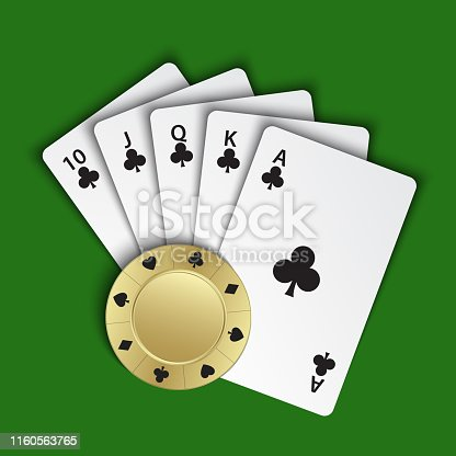 istock A royal flush of clubs with gold poker chip on green background, winning hands of poker cards, casino playing cards and chip, vector poker symbols 1160563765