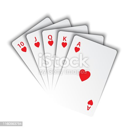 istock A royal flush of hearts on white background, winning hands of poker cards, casino playing cards, vector poker symbols 1160563754