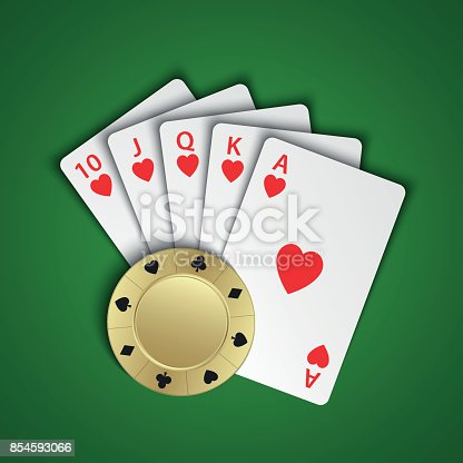istock A royal flush of hearts with gold poker chip on green background, winning hands of poker cards, casino playing cards and chip 854593066