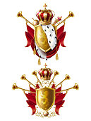 Royal golden crowns, fanfares, scepter and orb