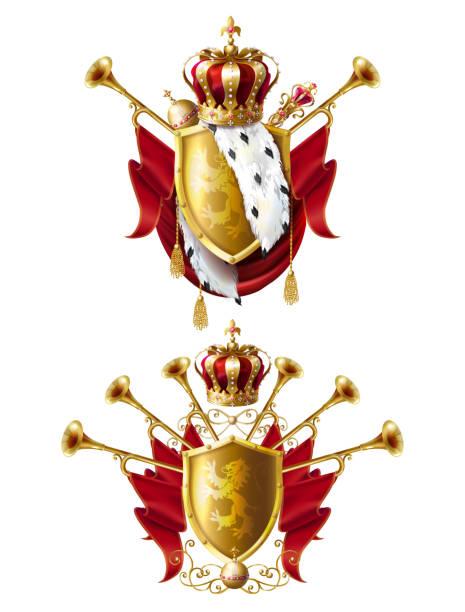 königliche goldene kronen, fanfaren, zepter und reichsapfel - fanfare stock-grafiken, -clipart, -cartoons und -symbole