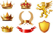 Royal golden king crowns set, ribbon, shield and laurel wreaths Awards collection for winners