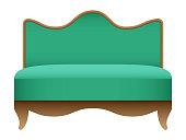 Royal green sofa mockup, realistic style