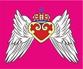 royal heart with wing design