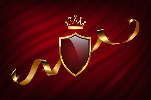 Royal heraldic emblem on curtain, realistic 3d blazon from shield, golden crown, ribbon