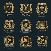 Royal heraldry logo set