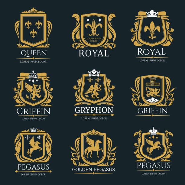 königlichen heraldik logo set - wappen stock-grafiken, -clipart, -cartoons und -symbole