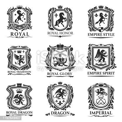 istock Royal heraldry shields, heraldic animal creatures 1192649407