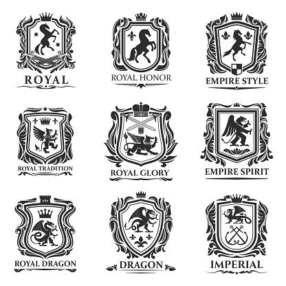 Royal heraldry shields, heraldic animal creatures