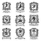 Heraldic animals, royal heraldry shields with dragons and Medieval creatures. Vector Pegasus horse and lion, imperial crown and heraldic fleur de lis coat of arms and emblems, gryphon or griffin eagle