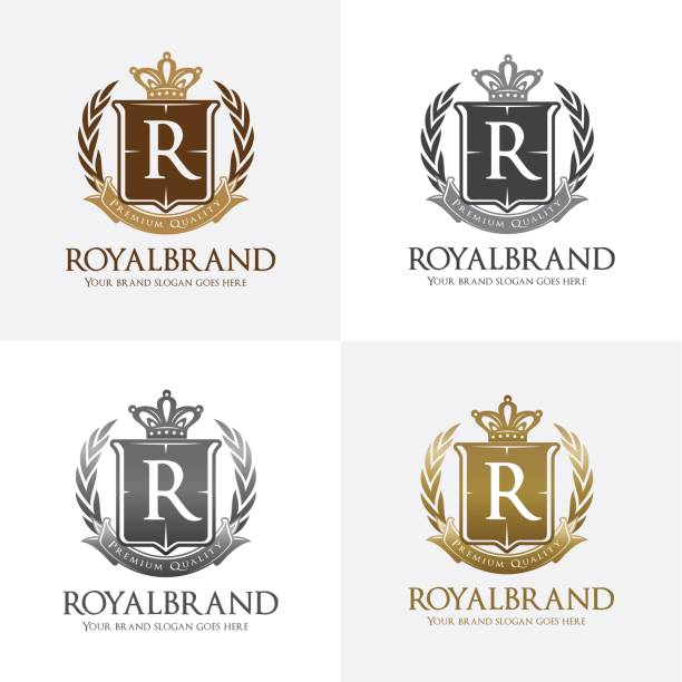 Royal icon with Crown, Wreath, and Shield Symbol vector art illustration