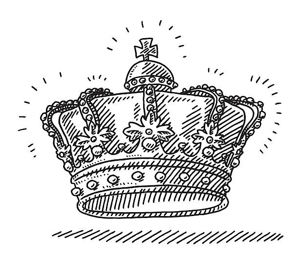 Royal King's Crown Drawing Hand-drawn vector drawing of a Royal King's Crown. Black-and-White sketch on a transparent background (.eps-file). Included files are EPS (v10) and Hi-Res JPG. celebration stock illustrations