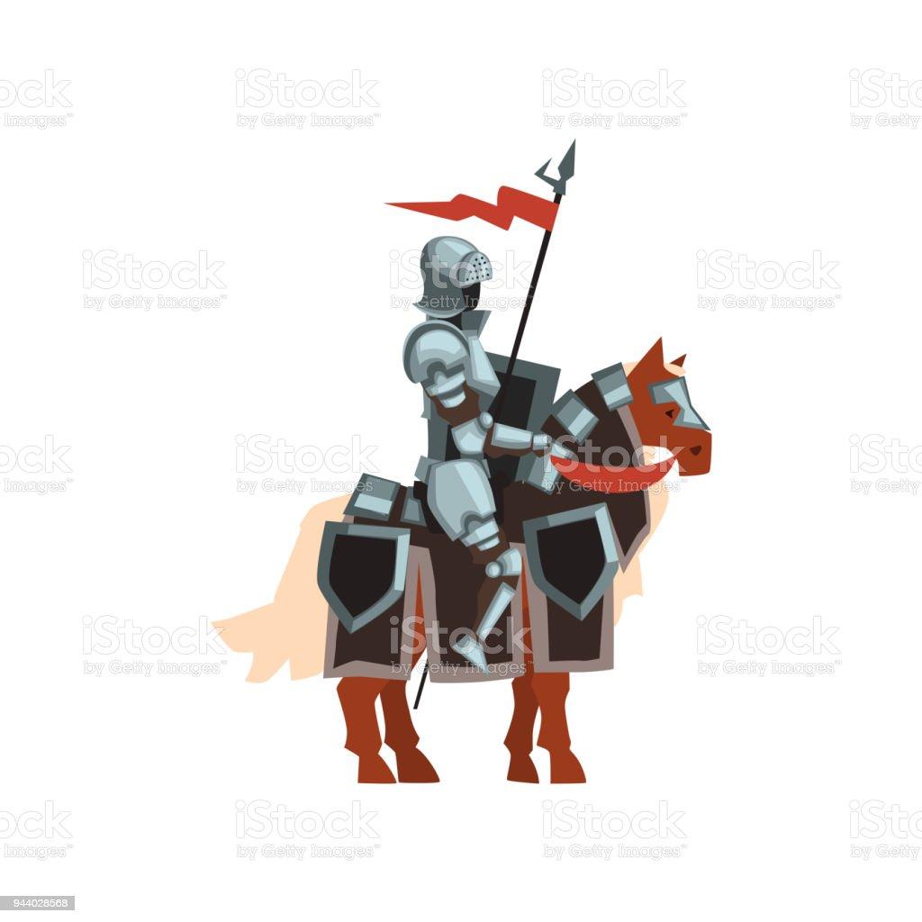 ロイヤル ナイトの赤い旗と手で盾と馬の上に座って鋼の光沢のある鎧の ...