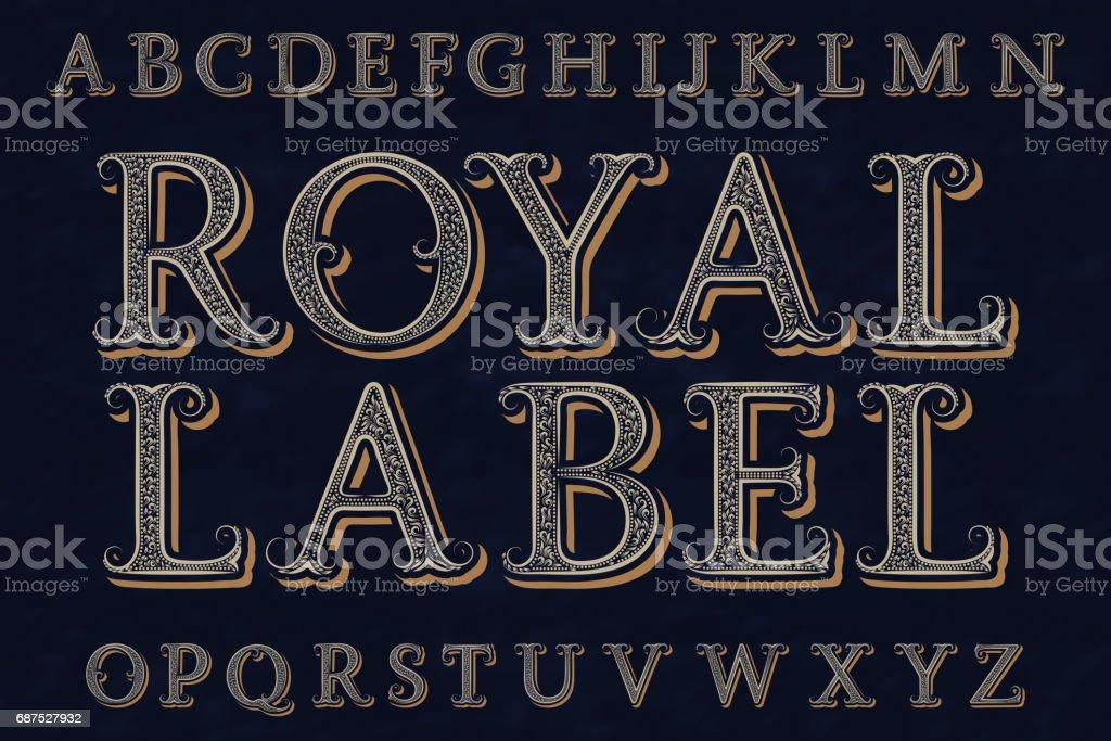 皇家標籤字體。孤立的英語字母表。 - 免版稅信 - 文件圖庫向量圖形