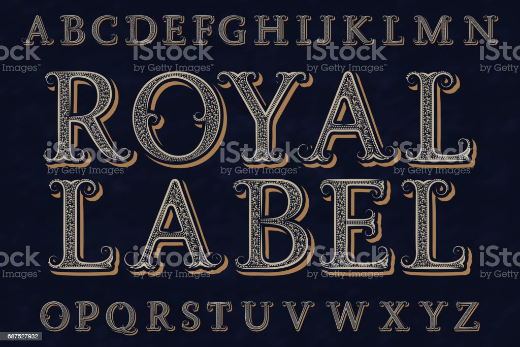 Royal label font. Isolated english alphabet. vector art illustration