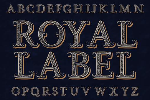 皇家標籤字體孤立的英語字母表向量圖形及更多信 - 文件圖片