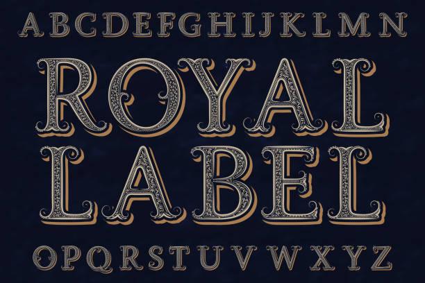 로얄 라벨 폰트입니다. 격리 된 영어 알파벳입니다. - 왕족 stock illustrations