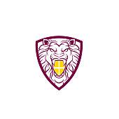 Royal Lion King / Crest Logo. Lion shield logo design template ,Lion head logo ,Element for the brand identity ,Vector illustration. Lion logo design inspiration - Vector