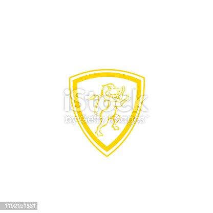 istock Royal Lion King / Crest Logo. Lion shield logo design template ,Lion head logo ,Element for the brand identity ,Vector illustration. Lion logo design inspiration - Vector 1152151831