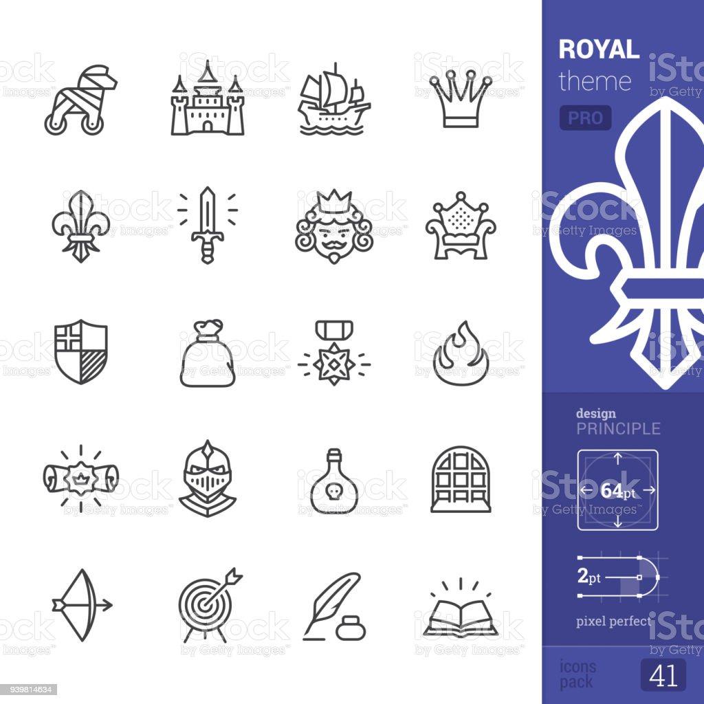 Royal, outline icons - PRO pack vector art illustration