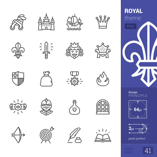 royal, outline icons - pro pack - swords tattoos stock illustrations, clip art, cartoons, & icons