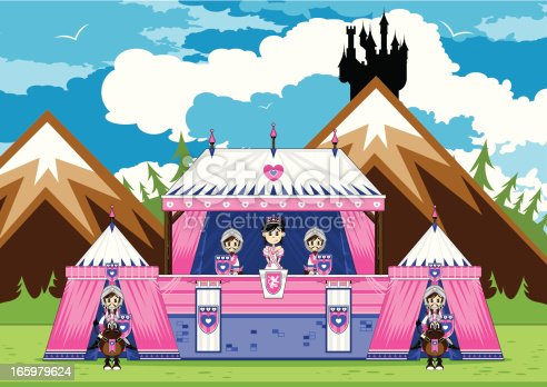 istock Royal Princess with Guards at Marquee Scene 165979624