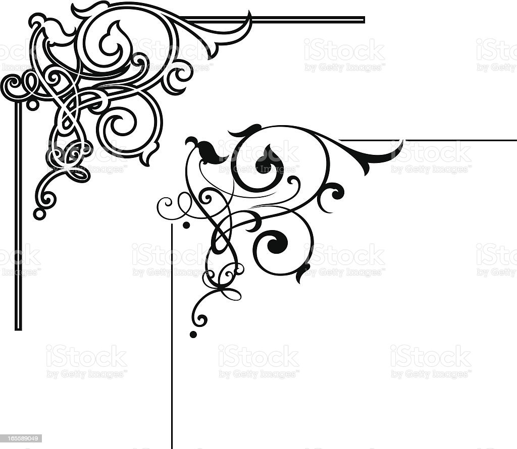 Royal Scroll Corner vector art illustration